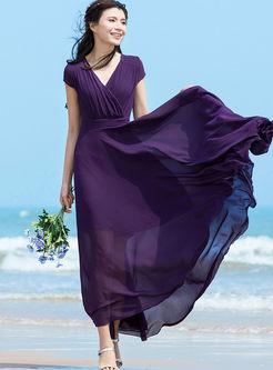 Brief Solid Color Chiffon Beach Maxi Dress
