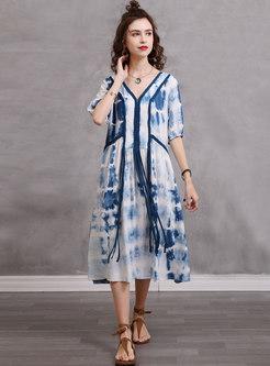 Plus Size Dye Tie Fringe Linen Dress