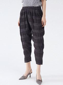 Grey High Waisted Pleated Harem Capri Pants