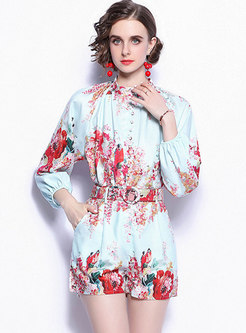 Mock Neck Long Sleeve Print High Waisted Shorts Suits
