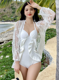 Solid Halter Neck Ruffle Cover-Up Swimwear