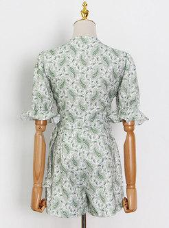 Vintage Green Print Tie-Front Top Mini Pant Suits