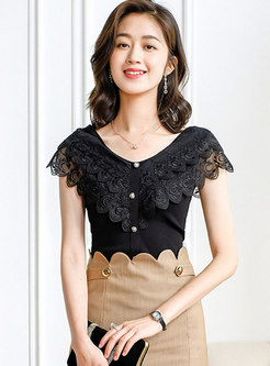 V-Neck Single-Breasted Lace Patchwork Knitted T-Shirt