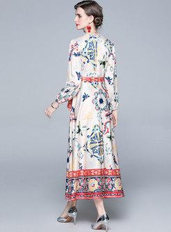 Ethnic Crew Neck Long Sleeve Wrap Maxi Dress