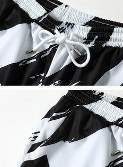 Crew Neck Short Sleeve Tee Print Harem Pant Suits