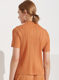 Half Turtle Neck Solid Pleated T-Shirt