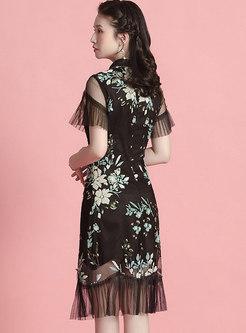 Vintage Sequin Patchwork Cheongsam Mermaid Dress