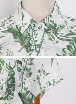 Turn-down Collar Drawstring Print Chiffon Rompers