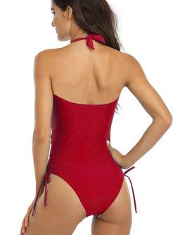 Halter Front Tie Drawstring One Piece Swimwear
