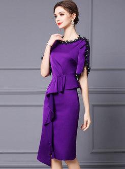Purple Crew Neck Patchwork High-Low Sheath Dress