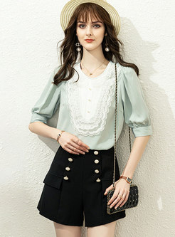Color-blocked Mesh Patchwork High Waisted Shorts Suits