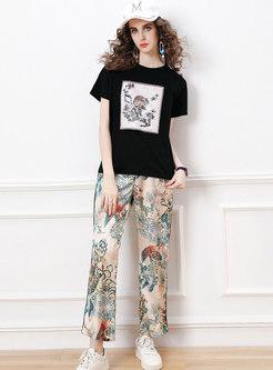 Sequin Crew Neck Tee Retro Print Long Pant Suits