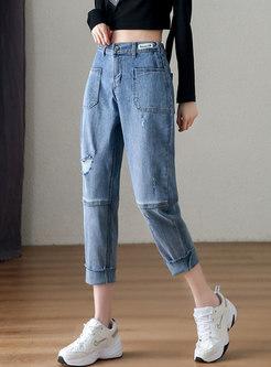 Blue Pocket Harem Ripped Jeans