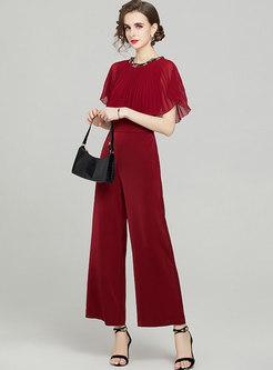 Beaded Ruffle Sleeve Cloak High Waisted Jumpsuits
