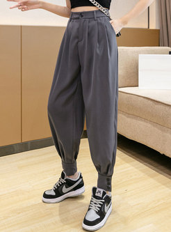 Solid Casual High Waisted Harem Pants