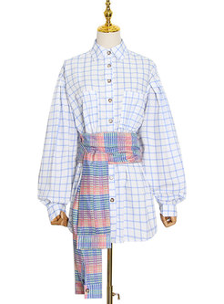Plaid Patchwork Lantern Sleeve Shirt Mini Dress