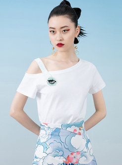 White Cold Shoulder Embroidered Pullover T-shirt
