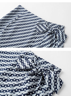 High Waisted Geometric Pattern Straight Skirt