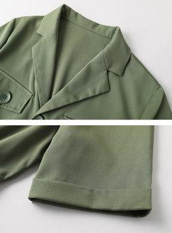Olive Green Lapel Pocket Rompers