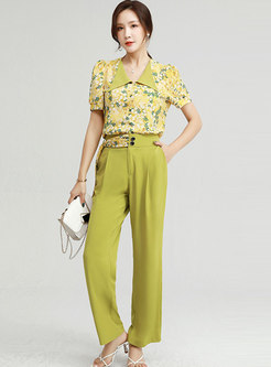 Floral Turn-Down Collar Top Chiffon Long Pant Suits