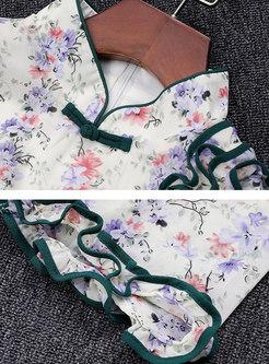 Floral Mock Neck Half Sleeve Split Cheongsam Dress