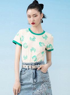 Color Blocked Cute Print Crew Neck T-Shirt