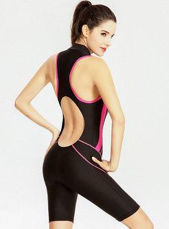 V-Neck Sleeveless Cut Out Back Zipper One Piece Swimwear