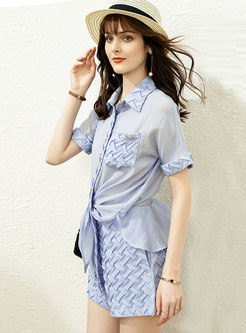 Casual Turn-Down Collar Shirt Textile Hot Pant Suits
