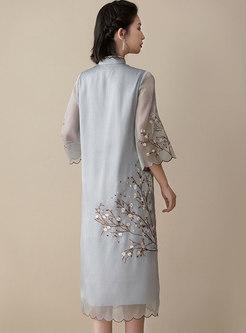 Vintage Half Sleeve Embroidered Cheongsam Shift Dress