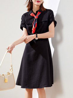 Turn-down Collar Belted Shirt Dress With Scarf