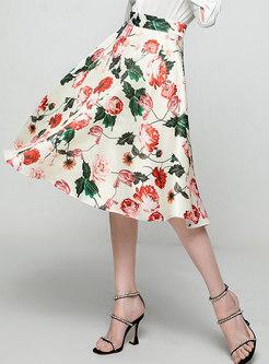 High Waisted Print A Line Knee-length Skirt