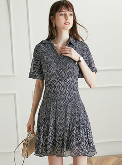 Turn-Down Collar Single-Breasted Floral Skater Dress