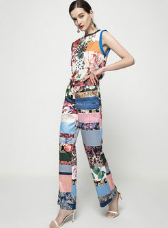 Crew Neck Sleeveless Polka Dot Print Pant Suits
