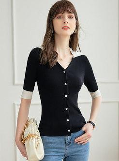 Color-blocked V-neck Pullover Ribbed Knit Top