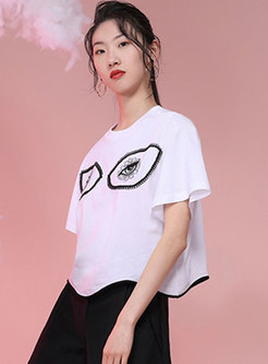 White Crew Neck Embroidered Cotton T-shirt
