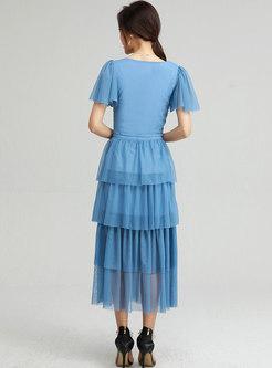 Square Neck Mesh Patchwork A Line Long Skirt Suits