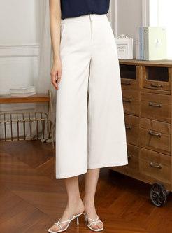 Apricot Calf-Length Wide Leg Pants