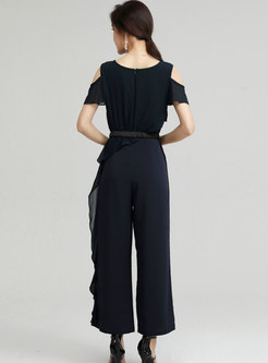 Solid Cold Shoulder Ruffle Belted Thin Jumpsuits