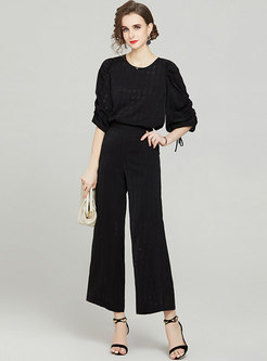 Crew Neck 3/4 Sleeve Top Breathable Wide Leg Pant Suits