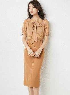 Khaki Patchwork Belted Split Sheath Dress