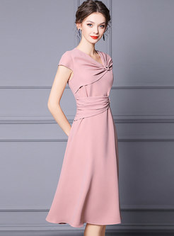 Elegant Pink Cap Sleeve Knot Skater Dress