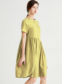 Casual Plus Size Shirred Knee-length Shift Dress