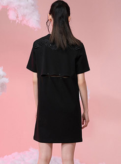 Brief Cut Out Back T-Shirt Dress Without Belt