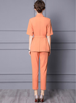 Notched Short Sleeve High Waisted Harem Pant Suits