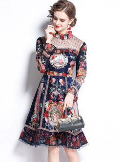 Vintage Mock Neck Long Sleeve Patchwork A-Line Dress
