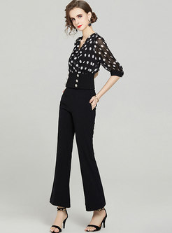 Black V-neck Polka Blouse & High Waisted Flare Pants