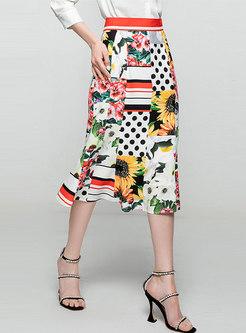 High Waisted Polka Dot Print A Line Midi Skirt