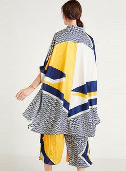 Casual Plus Size Geometric Pattern Pant Suits