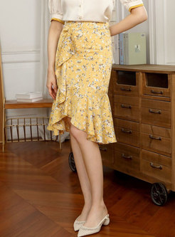 High Waisted Floral Ruffle Sheath Skirt