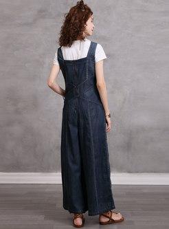 Sleeveless Embroidered Wide Leg Denim Jumpsuits